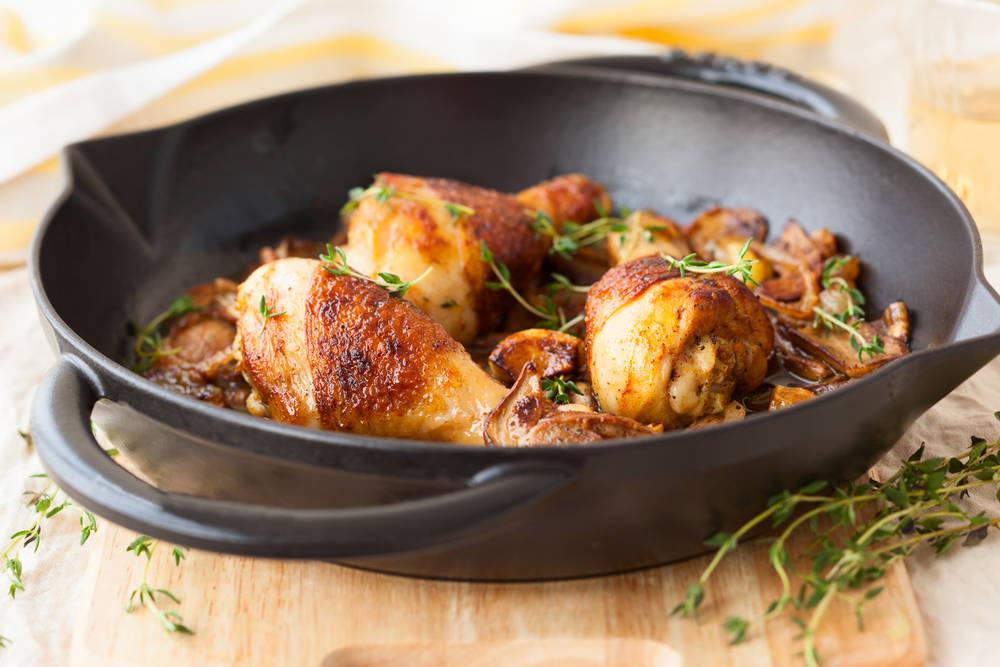 دجاج مقلي بالثوم
